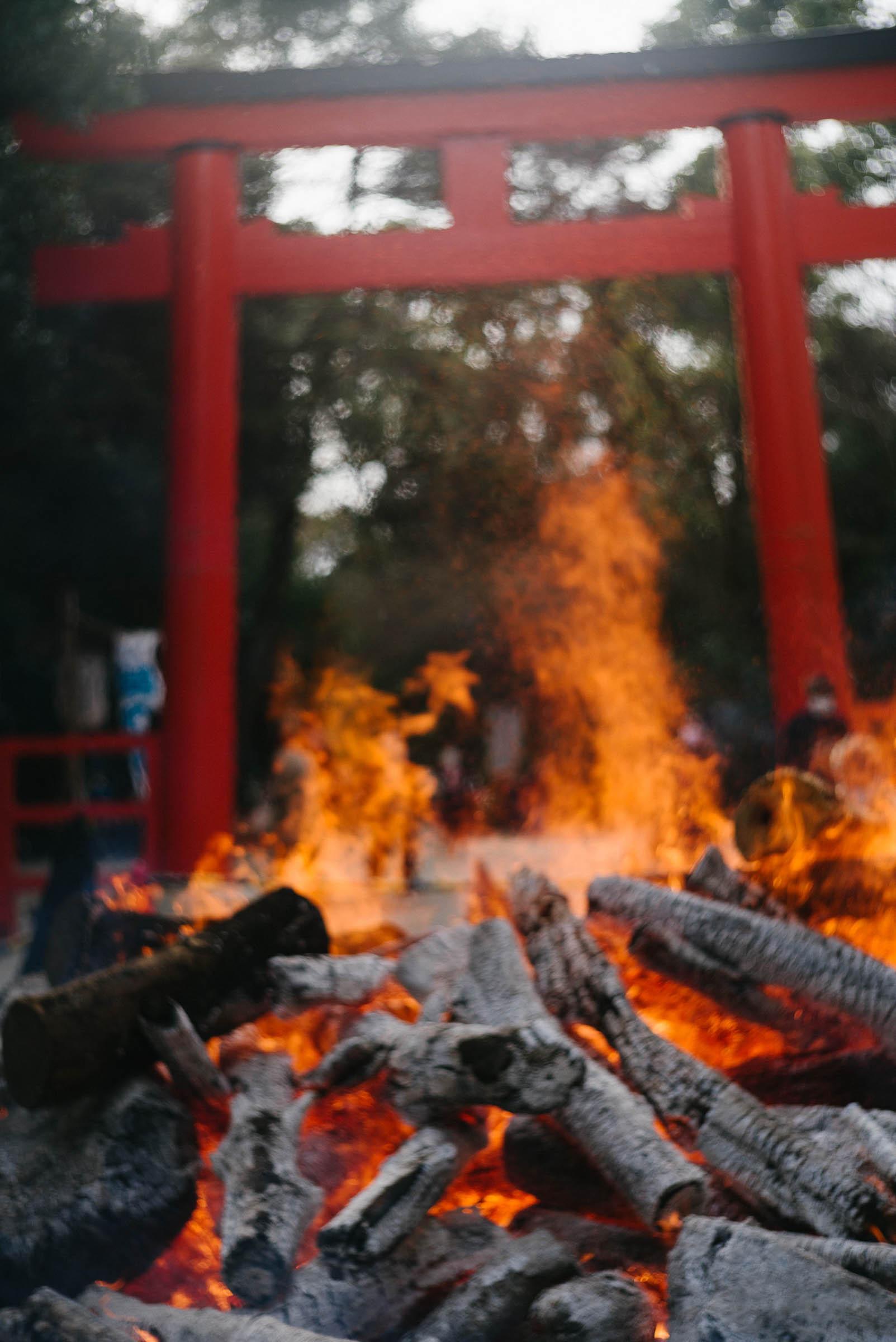 下鴨神社の焚き火